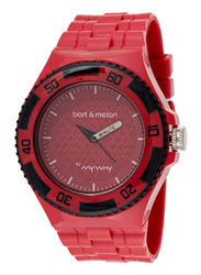 Bart & Melon Analog Unisex Watch with Polyurethane Band, Water Resistant, 11-NU005-RRR, Red