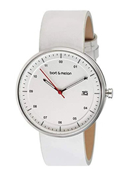 Bart & Melon Analog Unisex Watch with Leather Band, Water Resistant, 15-DG0152SWW, White