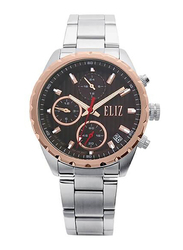 Eliz Analog Watch for Women with Stainless Steel Band, Water Resistant and Chronograph, ES8678L2UOS, Silver-Black/Rose Gold