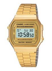 Casio Vintage Digital Watch Unisex with Stainless Steel Band, Water Resistant, A168WG-9W, Gold-Gold/Grey
