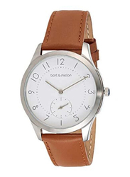 Bart & Melon Analog Unisex Watch with Leather Band, Water Resistant, 15-NG013-2SWO, White-Brown
