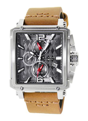 Blade Vertex Analog Watch for Men with Leather Band, Water Resistant and Chronograph, 3550G1SGD, Tan-Grey