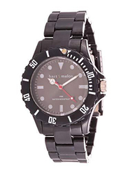 Bart & Melon Analog Unisex Watch with Polycarbonate Band, Water Resistant, 11-NG001-Bk, Black
