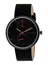 Bart & Melon Analog Unisex Watch with Leather Band, Water Resistant and Chronograph, 15-DG016-2-NNN, Black