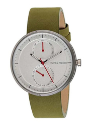 Bart & Melon Analog Unisex Watch with Leather Band, Water Resistant and Chronograph, 15-DG016-2-AWE, Green-White