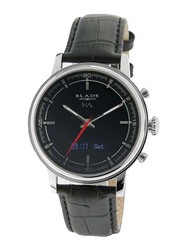 Blade Smartwatch Analog/Digital Unisex Watch with Leather Band, Water Resistant, 3500S-1HA-SNN, Black-Black/Silver