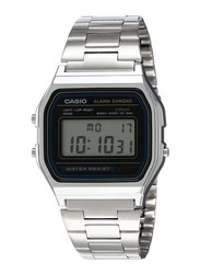 Casio Vintage Digital Watch Unisex with Stainless Steel Band, Water Resistant, A158WA-1D, Silver-Grey