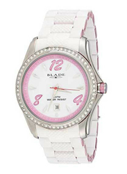 Blade Analog Unisex Watch with Aluminum/Silicone Band, Water Resistant, 13-3161U-SHP, White/Pink