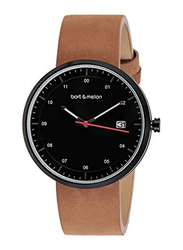 Bart & Melon Analog Unisex Watch with Leather Band, Water Resistant, 15-DG0152NNO, Brown-Black