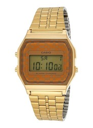 Casio Digital Watch Unisex with Stainless Steel Band, Water Resistant, A159WGEA-9A, Gold-Grey