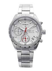 Eliz Analog Watch for Women with Stainless Steel Band, Water Resistant and Chronograph, ES8678L2SSS, Silver-White