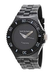 Bart & Melon Analog Unisex Watch with Polyurethane Band, Water Resistant, 11-NU005-NNN, Black