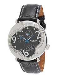Blade Analog Unisex Watch with Leather Band, Water Resistant and Chronograph, 2721G-SNN, Black