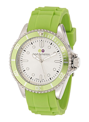 Bart & Melon Analog Unisex Watch with Silicone Band, Water Resistant, 12-NU010SEE, Green-White