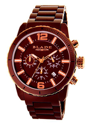 Blade Ceracro Analog Watch for Men with Stainless Steel Band, Water Resistant and Chronograph, 3572G3ROO, Brown-Brown/Rose Gold