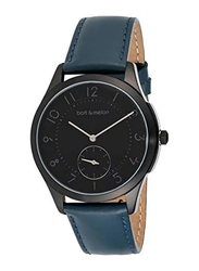 Bart & Melon Analog Unisex Watch with Leather Band, Water Resistant, 15-NG013-2NNB, Black-Blue