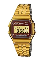 Casio Digital Watch Unisex with Stainless Steel Band, Water Resistant, A159WGEA-5D, Gold-Grey