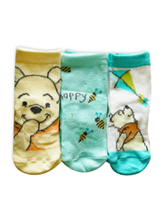 Disney Winnie the Pooh Fabbro Ankle Socks Set for Babies, 3 Pieces, 0-6 Months, Multicolor