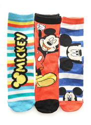 Disney Mickey Mouse Pante 01 Crew Socks Set for Kids, 3 Pieces, 3-6 Years, Multicolor