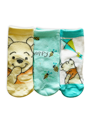 Disney Winnie the Pooh Fabbro Ankle Socks Set for Babies, 3 Pieces, 6-12 Months, Multicolor