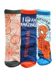 Marvel Spiderman ANCA 01 Crew Socks Set for Kids, 3 Pieces, 6-8 Years, Multicolor