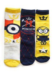 Illumination Minions Baron Crew Socks Set for Kids, 3 Pieces, 2-3 Years, Multicolor