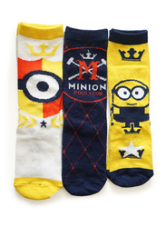 Illumination Minions Baron Crew Socks Set for Kids, 3 Pieces, 6-8 Years, Multicolor