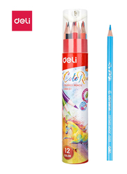 Deli C00307 Color Pencil with Sharpener, 12 Pieces, Multicolor