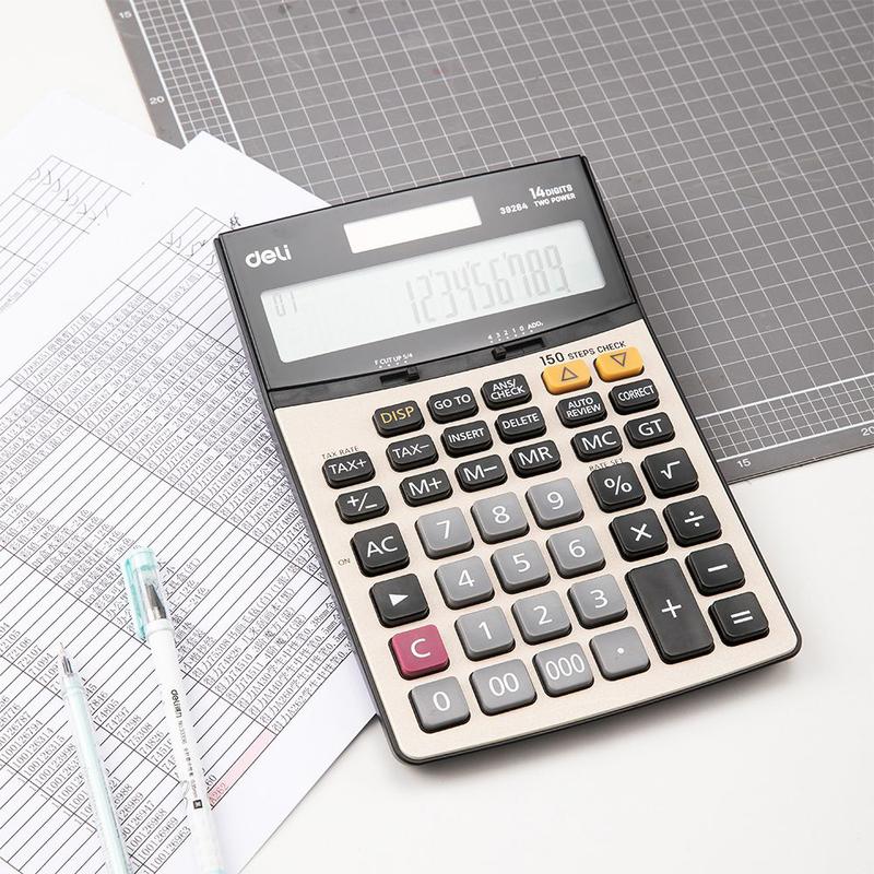 Deli E39264 14 Digits Calculator with 150 Steps Check, Grey/Black