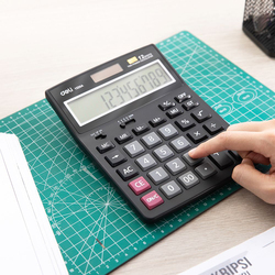 Deli E1520A 12 Digits Dual Power Calculator, Black