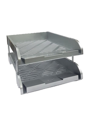 Perfekt N812y 2 Tier Document Tray, A4 Size, Silver Cover
