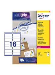 Avery L7162-100 Self Adhesive Address Mailing Labels with Ultragrip Technology, 16 x 100 Pieces, Clear