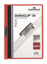 Durable Duraclip 2200-03 30-Sheets Capacity Clip File, A4 Size, Red
