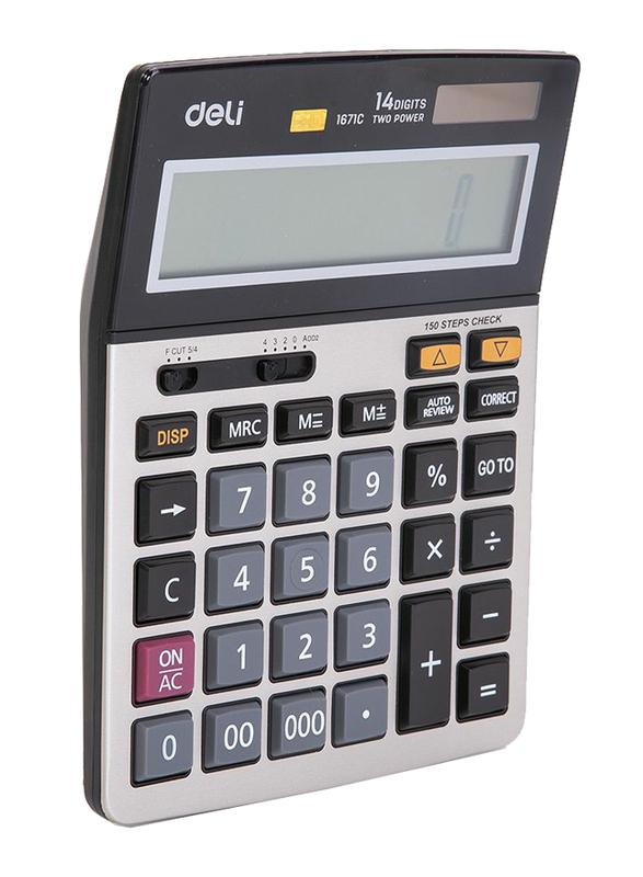 Deli E1671C 14 Digits Calculator, White/Black