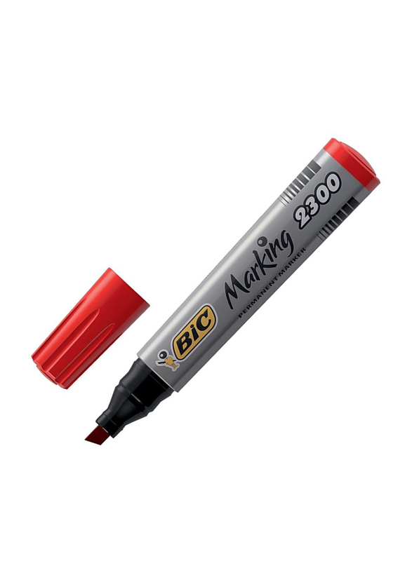 BIC 2300 Chisel Tip Permanent Marker, Red