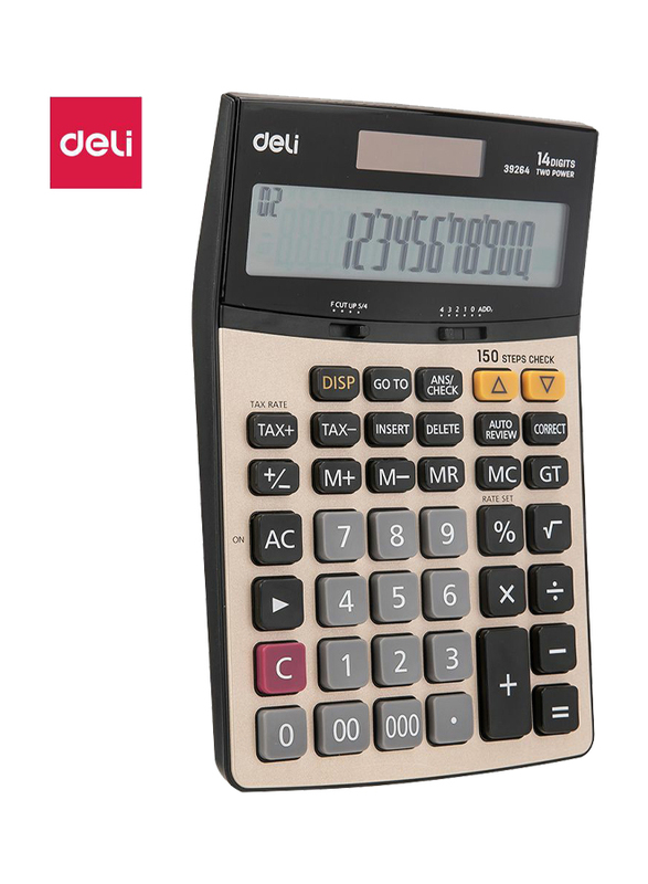 Deli E39264 14 Digits Calculator with 150 Steps Check, Grey/Black