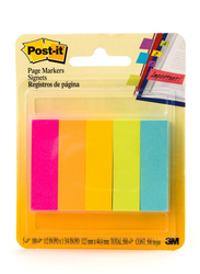 3M Post-It 670-5An Neon Colors Page Markers, 1.27 x 4.44cm, 5 x 100 Sheets, Multicolor