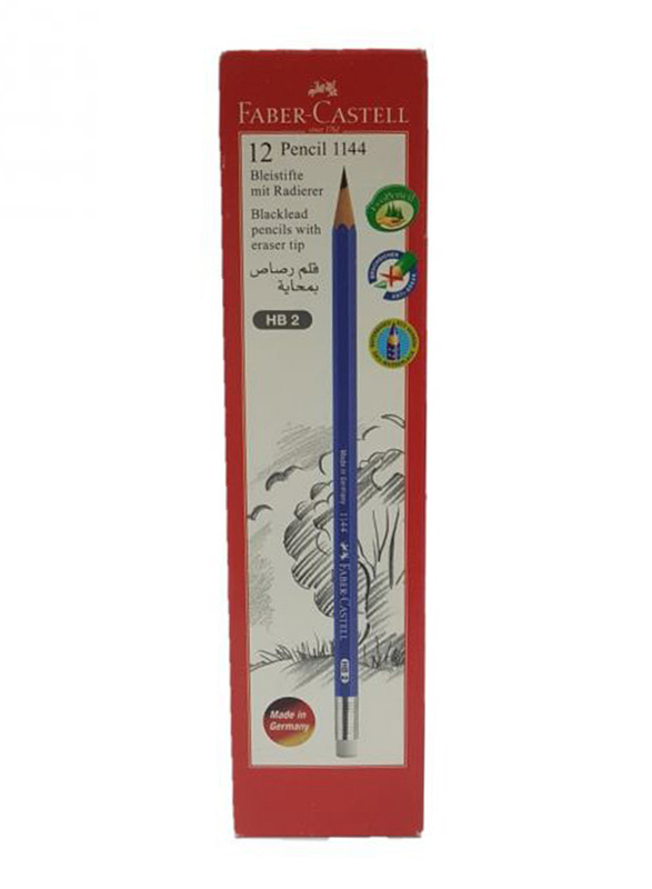 Faber-Castell 1144 HB2 Pencil with Eraser, 12 Pieces, Blue