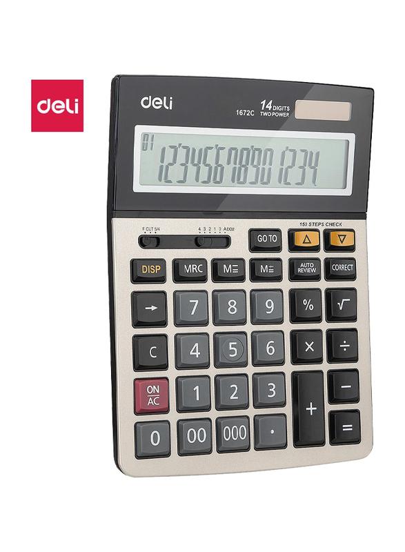 Deli E1672C 14 Digits Metal Calculator, White/Black