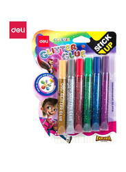 Deli EA71101 Glitter Glue, 6 Pieces, 12ml, Multicolor