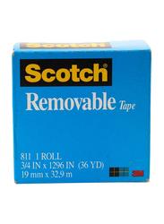 3M Scotch 811 Removable Magic Tape, 19mm x 32.9 meters, Blue