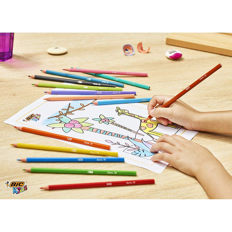 BIC Kids Tropiclor Color Pencil, 12 Pieces, Multicolor