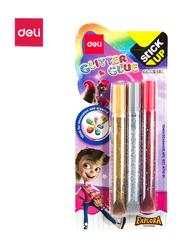 Deli EA71001 Glitter Glue, 3 Pieces, 12ml, Multicolor