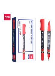 Deli EU10440 Twin Marker Pen, 12 Pieces, 0.5-1mm, Red