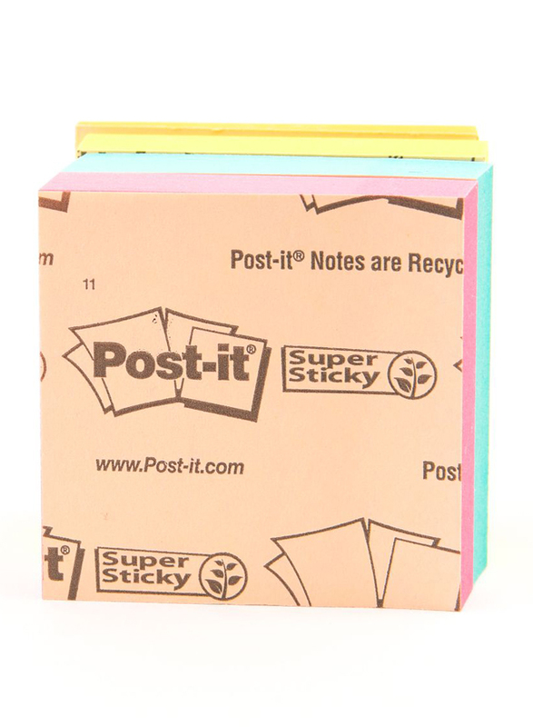 3M Post-It 6916S-YPOB Super Sticky Multi Pack, 47.6 x 47.6mm, 6 x 45 Sheets, Multicolor