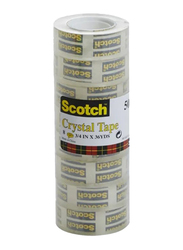 3M Scotch 508-N2J Crystal Tape, 19mm x 36Yards, 8 Rolls, Clear