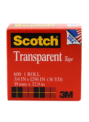3M Scotch 600 Transparent Tape, 19mm x 32.9 meters, Red