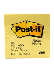 3M Post-it 654 Sticky Notes, 76 x 76mm, 100 Sheets, Yellow