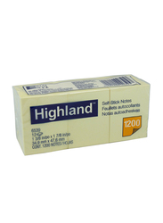3M Highland 6539 Self-Stick Notes, 34.9 x 47.6mm, 12 x 100 Sheets, Yellow