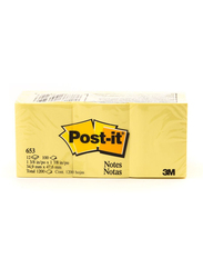 3M Post-It 653 Sticky Notes, 34.9 x 47.6mm, 12 x 100 Sheets, Yellow